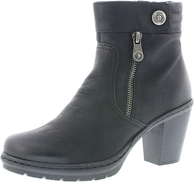 Rieker Damen Stiefelette Y1553,Frauen Stiefel,Boot,Halbstiefel,Damenstiefelette,Bootie,hoch,Trichterabsatz 7.2cm