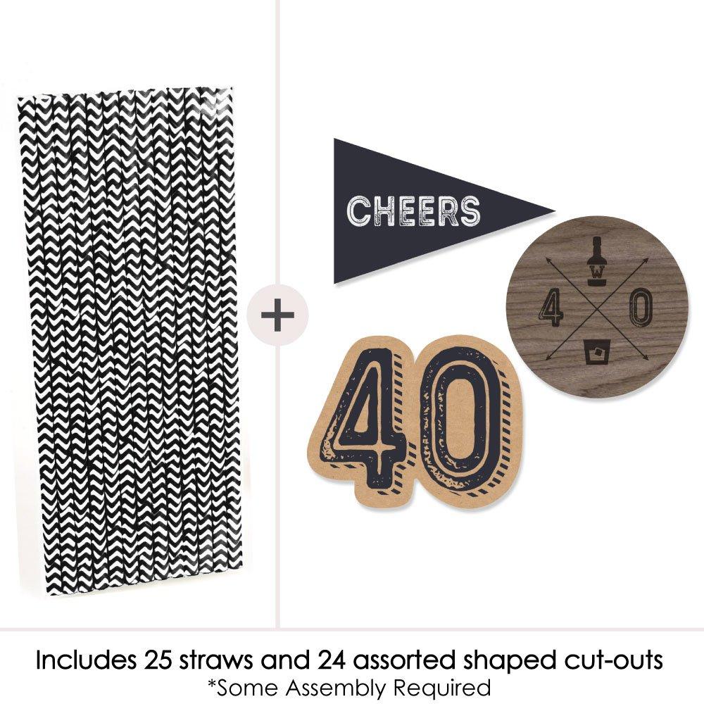 Dashingly Aged to Perfection Paper Straw Decor 40th Milestone Birthday Birthday Party Striped Decorative Straws Set of 24