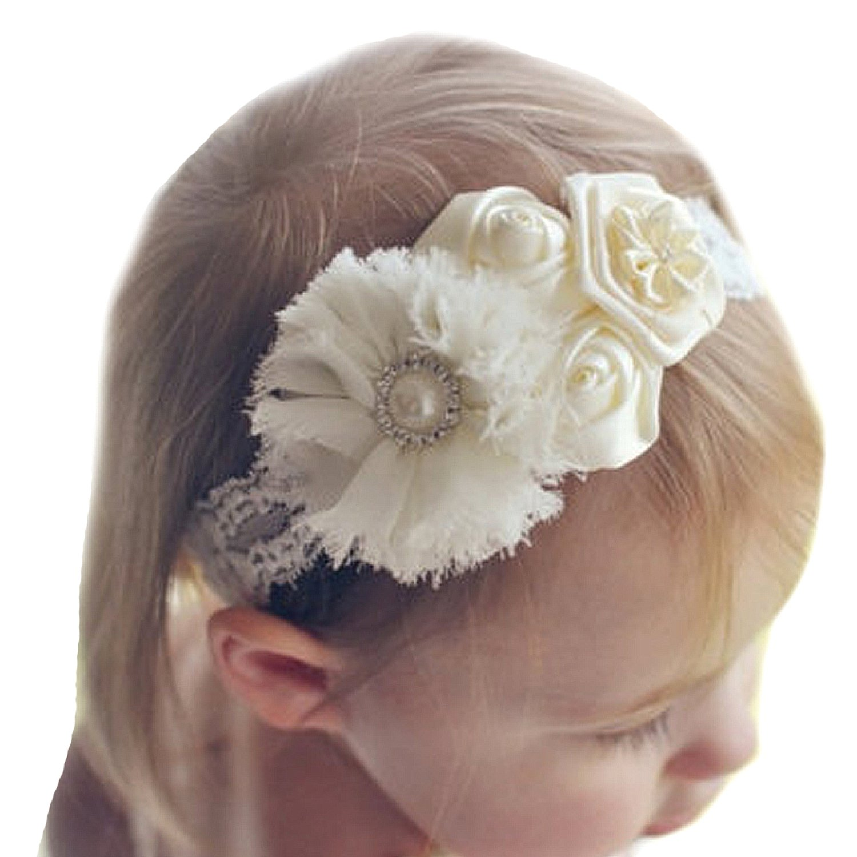 Miugle Baby Girls Lace Headbands Baby Baptism Headbands by Miugle