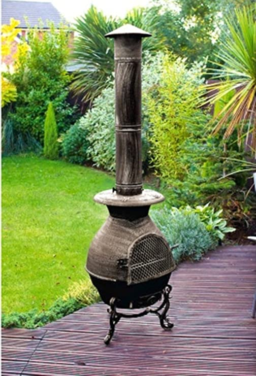 Scotrade Vintage chimenea grande 180 cm alto jardín patio calentador fuego leña hierro fundido: Amazon.es: Jardín
