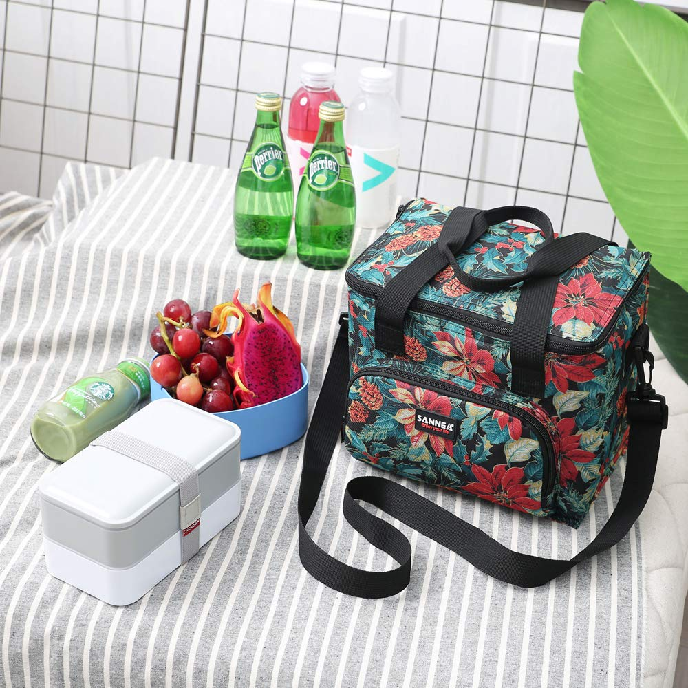Blue Lunch Bags for Women Insulated Lunch Box for Girls Adults Student Cooler Lunch Tote Bag with Adjustable Shoulder Strap and Front Pocket Perfect for School Office Work Picnic Outdoor Activities