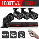 IHOMEGUARD 960H 4 channel Dvr Security Camera System,4x Surveillance Weatherproof Outdoor/Indoor 1000TVL