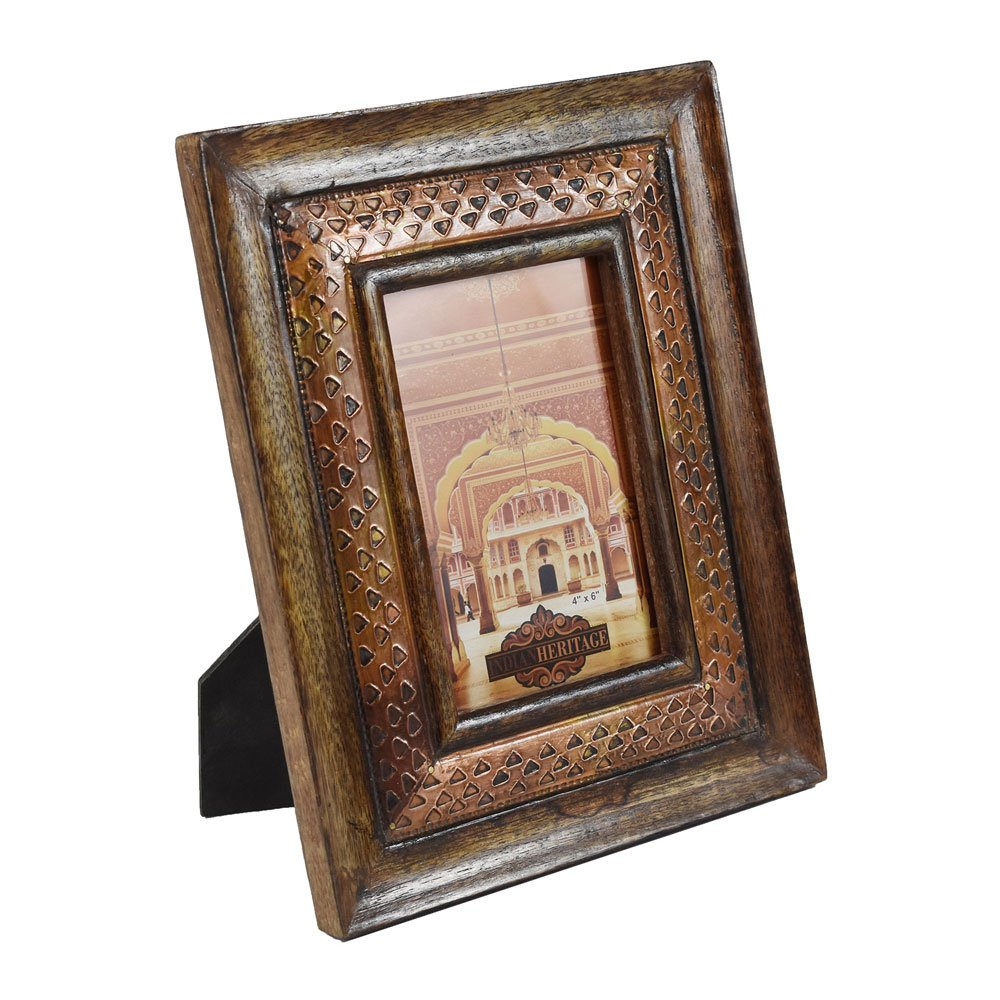 Indian Heritage - Wooden Photo Frame 4x6 Mango Wood with Metal Cladding Design in Dark Wood Finish