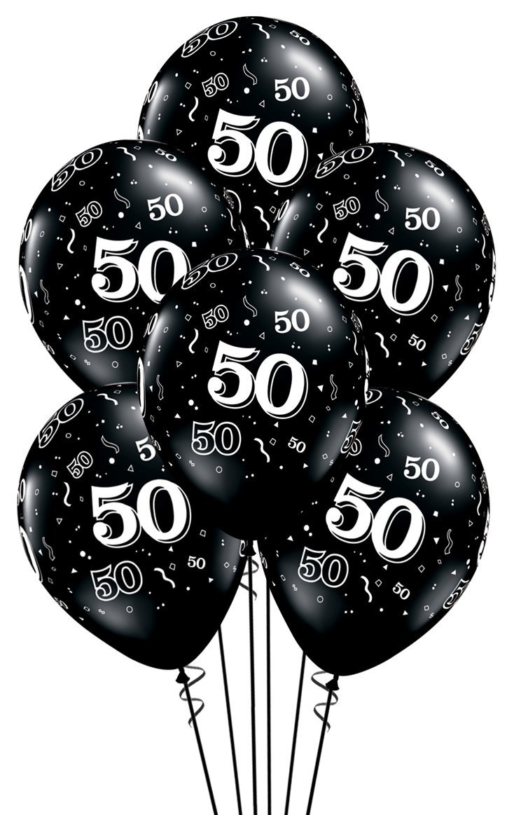 Qualatex 50 A Round Biodegradable Latex Balloons Onyx Black With White Prints All