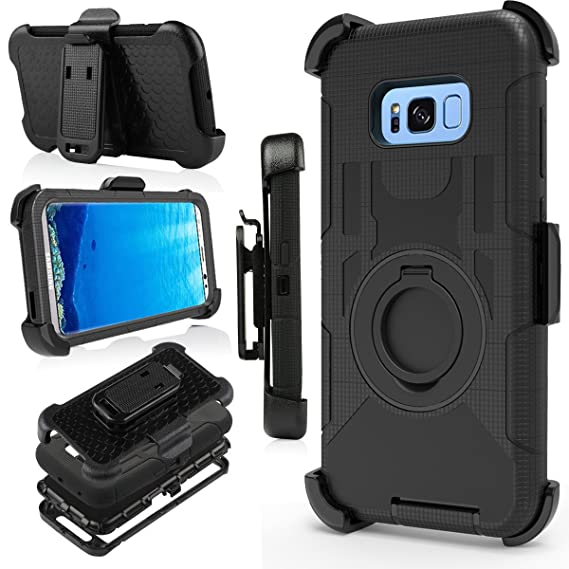 finest selection 1826c 64595 J.west Galaxy S8 Plus Case, [Kickstand] Black Armor Holster Defender Full  Body Protective Hybrid Case Cover with Belt Clip for Samsung Galaxy S8 Plus  ...
