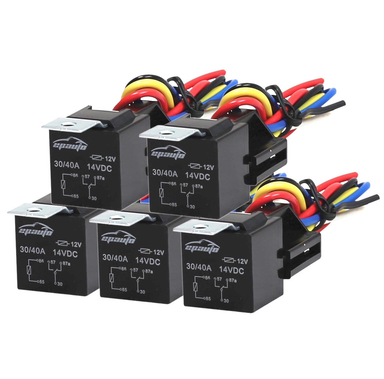 5 Pack Epauto 30 40 Amp Relay Harness Spdt 12v Bosch Wiring Diagram Lock Style Automotive