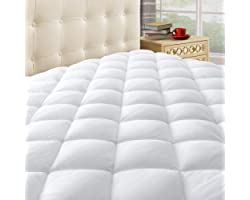 """Taupiri Queen Quilted Mattress Pad Cover with Deep Pocket (8""""-21""""), Cooling Soft Pillowtop Bed Mattress Cover, White"""