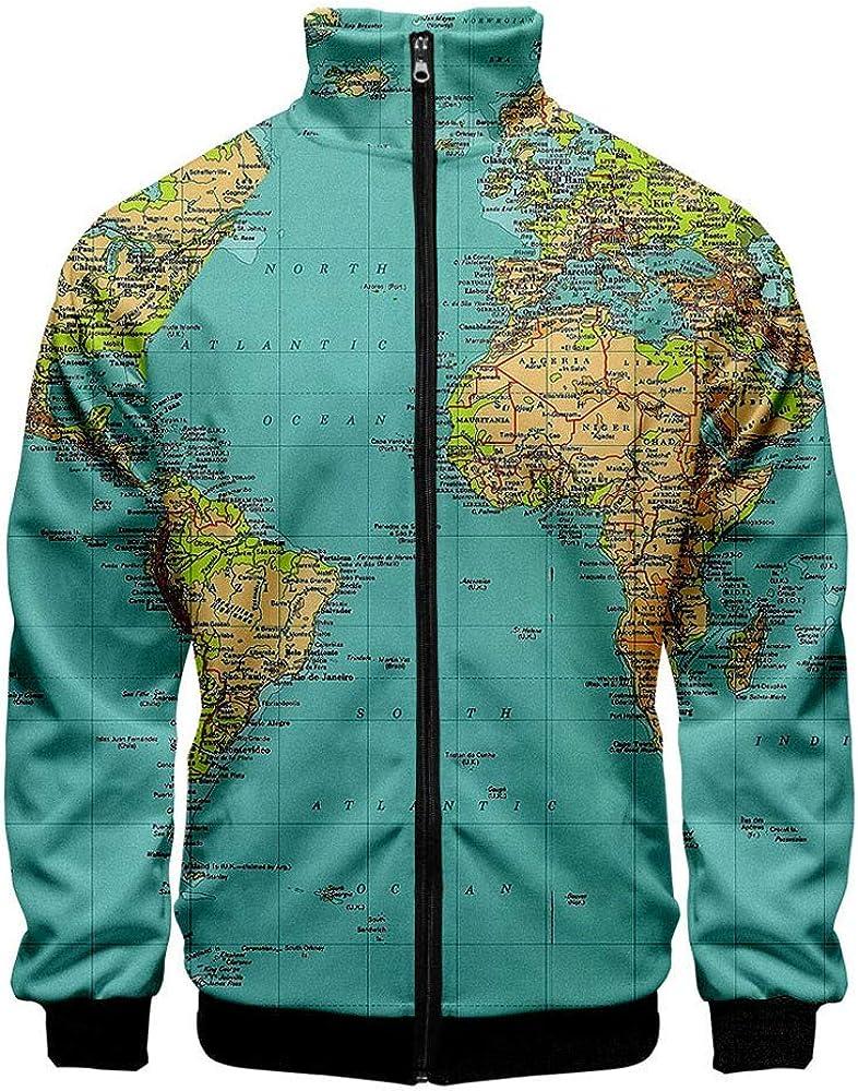 HLIYY - Camisa para Hombre, diseño de Mapa del Mundo con Botones ...