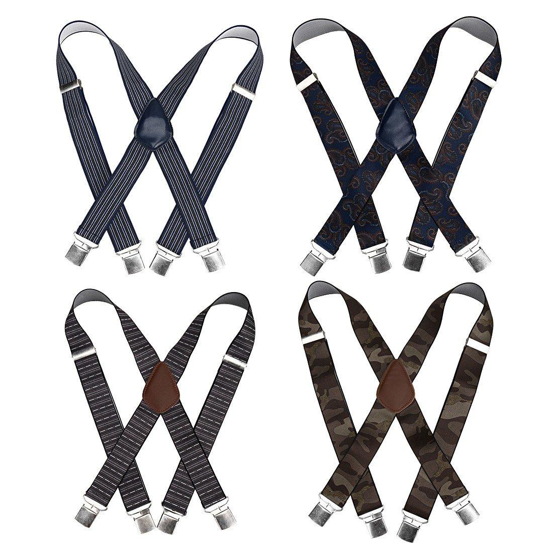 Bundle Monster 4pc Various Design X-Back Adjustable Clip Unisex Suspender