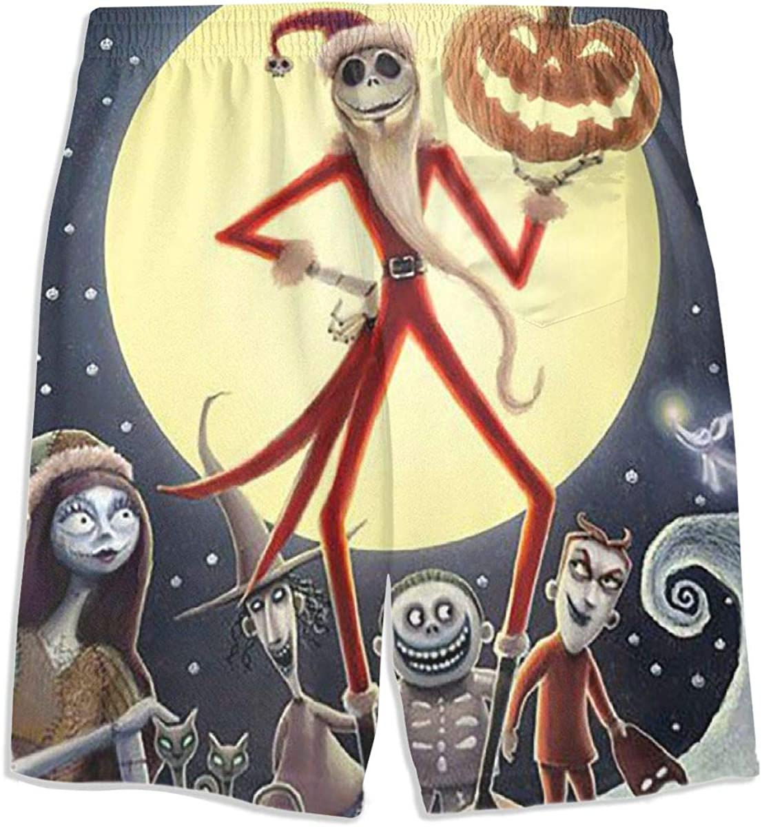 Swim Trunks Jack Skellington Santa Quick Dry Beach Board Shorts Bathing Suit with Side Pockets for Teen Boys