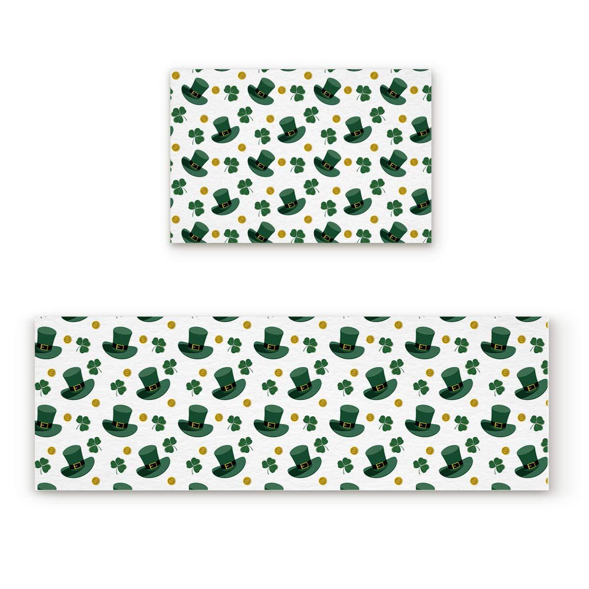 Spt-004fiy2753 19.7x31.5In+19.7x47.2In Findamy Non-Slip Indoor Door Mat Entrance Rug Rectangle Absorbent Moisture Floor Carpet for Happy St. Patrick's Day Theme Doormat 23.6x35.4In+23.6x70.9In