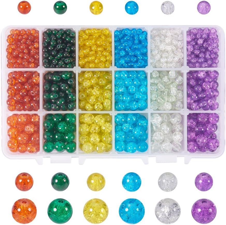 NBEADS 1 Caja de 6 Colores 1980 Piezas 4 mm 6 mm 8 mm Redondo Colorido Crackle Cuentas de Cristal para bisutería Manualidades