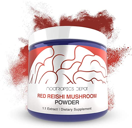 Red Reishi Mushroom Powder 60 Grams Ganoderma lucidum Organic Whole Fruiting Body Mushroom Extract Supports a Healthy Immune System