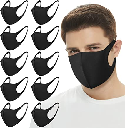50PCS Adult Disposable Bandanas Covering,Breathable Blue Environmentally Friendly 3 Ply Filter Face Balaclava Mouth Dustproof Black