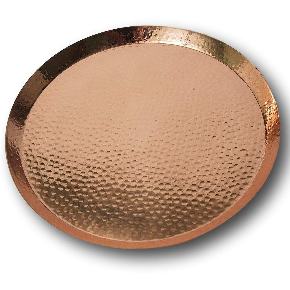 Large Contemporary Hammered Edge Pure Copper Circular Serving Party Tray - By Alchemade - 15 Inch Round Charger Platter Serving Dish