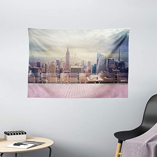 Ambesonne Modern Tapestry, New York City USA Landscape from Roof Apartment Balcony Photograph Image, Wide Wall Hanging for Bedroom Living Room Dorm, 60 X 40 , White Grey