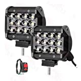 Andride Universal Fitting 12 LED Fog Light/Work Light Bar Spot Beam Off Road Driving Lamp 36W Cree for All Bikes and Cars - Set of 2 Pieces (with Switch)