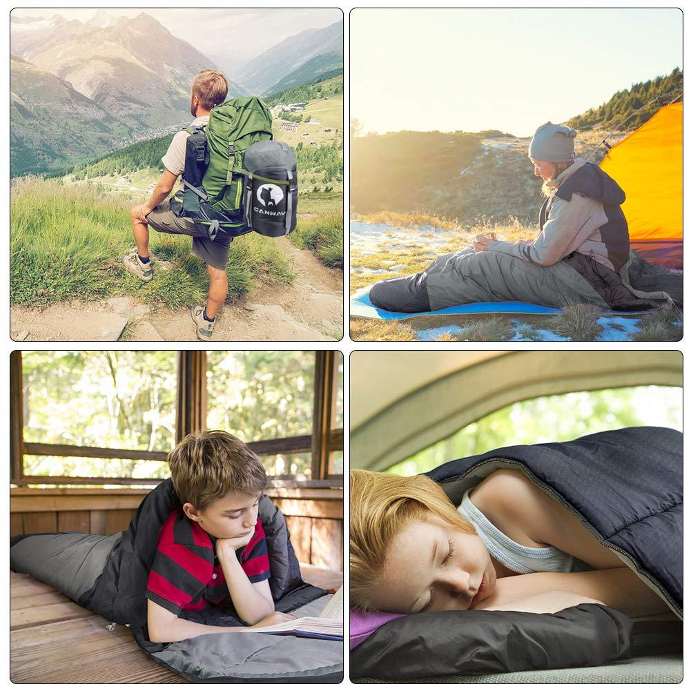 Randonn/ée Temp/érature de Confort 2℃ ~ 29℃ 2-3 Saisons en Mat/ériau Imperm/éable 1.9kg CANWAY Sac de Couchage Portable pour Camping