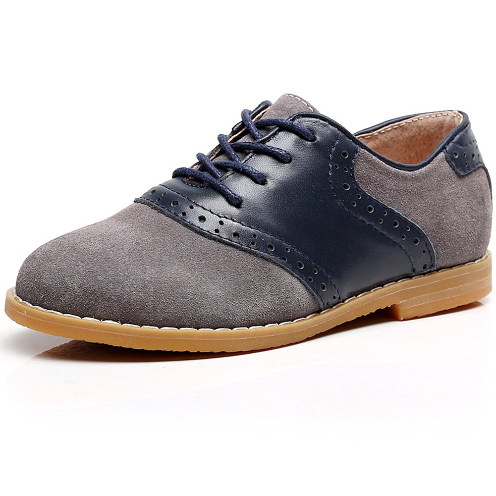 Shenn Boy's Kids Dress Uniform Brogue School Suede Leather Oxfords Shoes SN358(Grey,Little Kid US1)