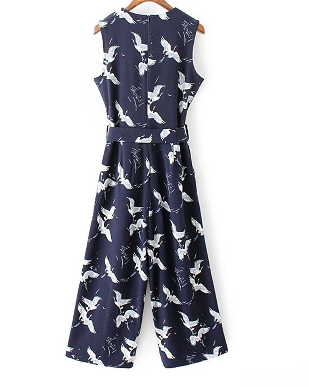 mydeshop Womens O-Neck Floral Print Belted Casual Capri Pants Temperament Jumpsuits