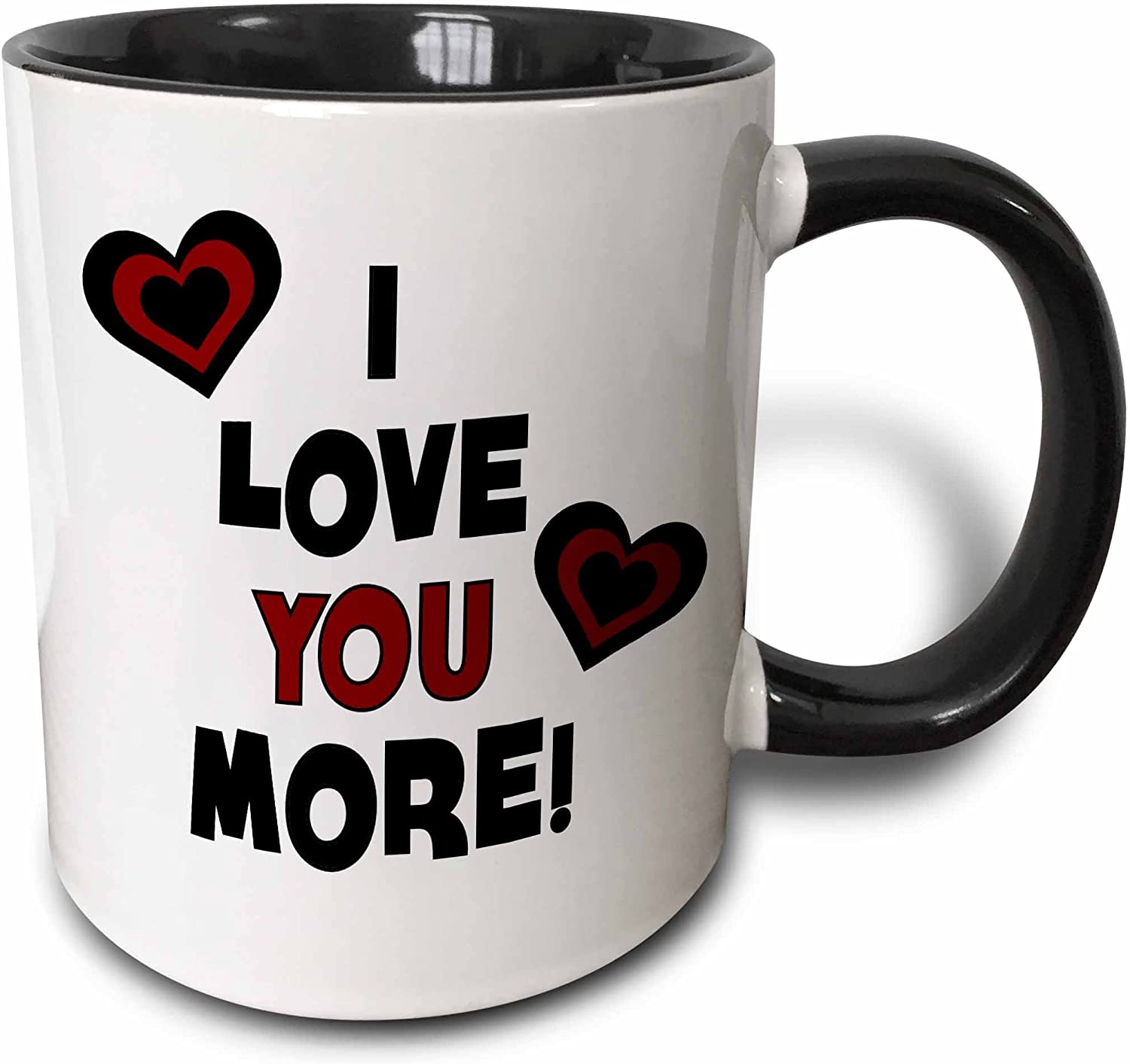 3dRose I Love You More In Black And Red With Hearts Mug, 11 oz