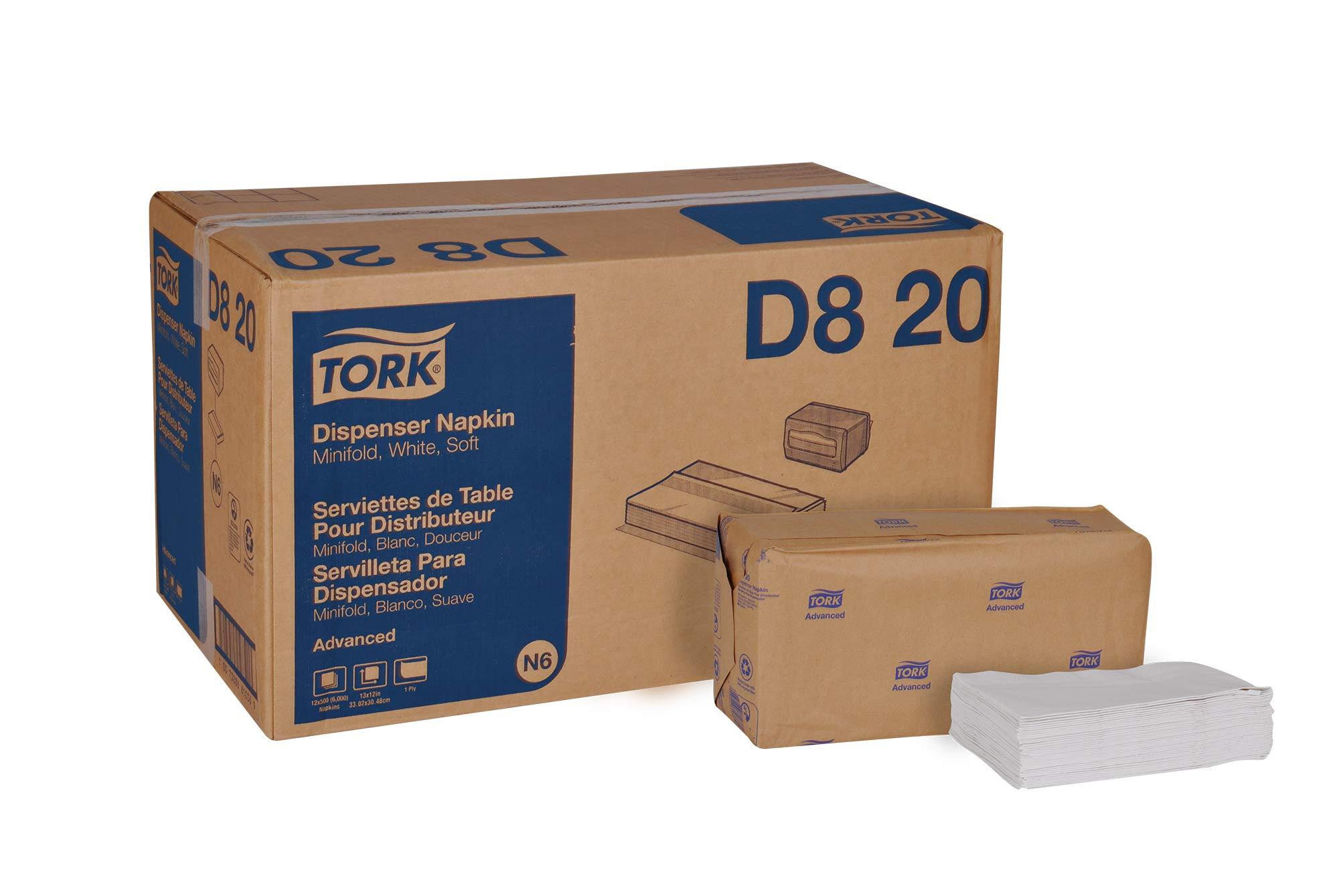 Tork Advanced Soft D820 Minifold Dispenser Napkin, 1-Ply, 13'' Width x 12'' Length, White (Case of 12 Packs, 500 per Pack, 6,000 Napkins)