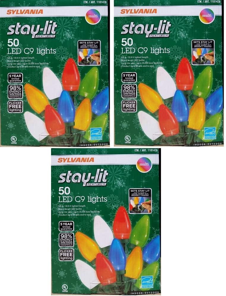 Sylvania Stay-Lit Platinum Multicolor LED C-9 Indoor/Outdoor Holiday Lights - (50 lights per string) (3)