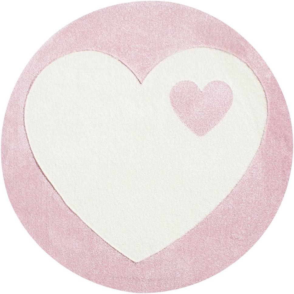 byGraziela Kinderteppich Design Herz rosa//Weiss 133cm rund
