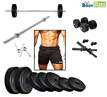 a9b1d706407 Body Maxx Exercise Set Dumbells 3Feet Straight Bar Gym Tighty 10 Kg   Amazon.in  Sports