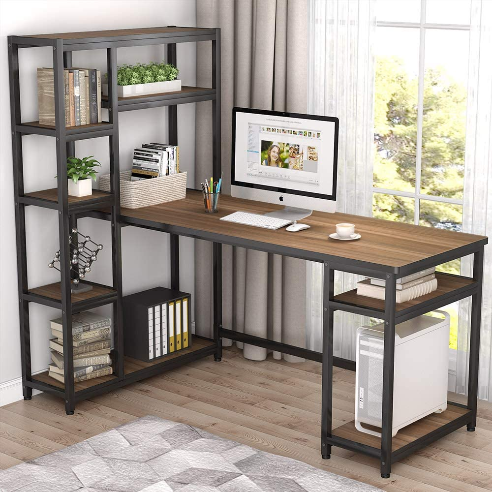 """Tribesigns 67"""" Reversible Large Computer Desk with 9 Storage Shelves, Office Desk Study Table Writing Desk Workstation with Hutch Bookshelf for Home Office, Rustic Oak"""
