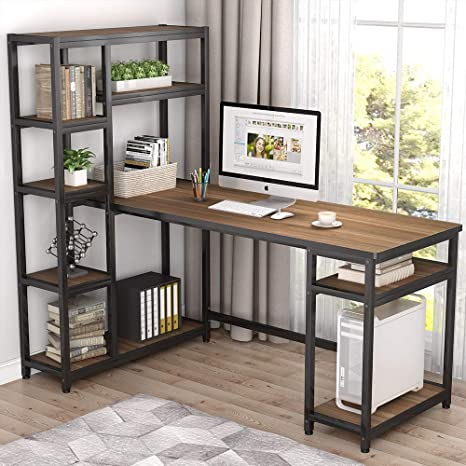 Admirable Tribesigns 67 Large Computer Desk With 9 Storage Shelves Office Desk Study Table Writing Desk Workstation With Hutch Bookshelf For Home Office Oak Download Free Architecture Designs Estepponolmadebymaigaardcom