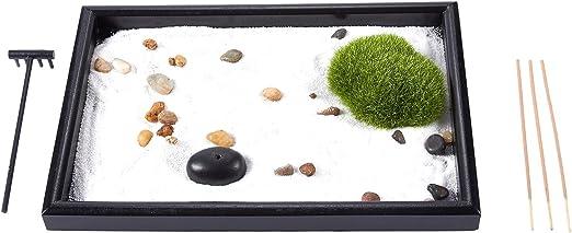 Juvale Zen Garden - Arena, Roca, y el rastrillo para la relajación y la meditación, Negro y Negro, 11.6 x 0.8 x 7.9 Pulgadas: Amazon.es: Hogar
