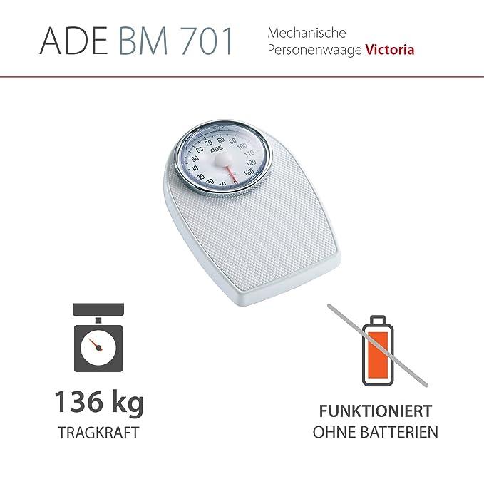 ADE Báscula mecánica de baño BM701 Victoria. Tipo médico. Metal robusto y goma antideslizante (Blanco-plata): Amazon.es: Salud y cuidado personal