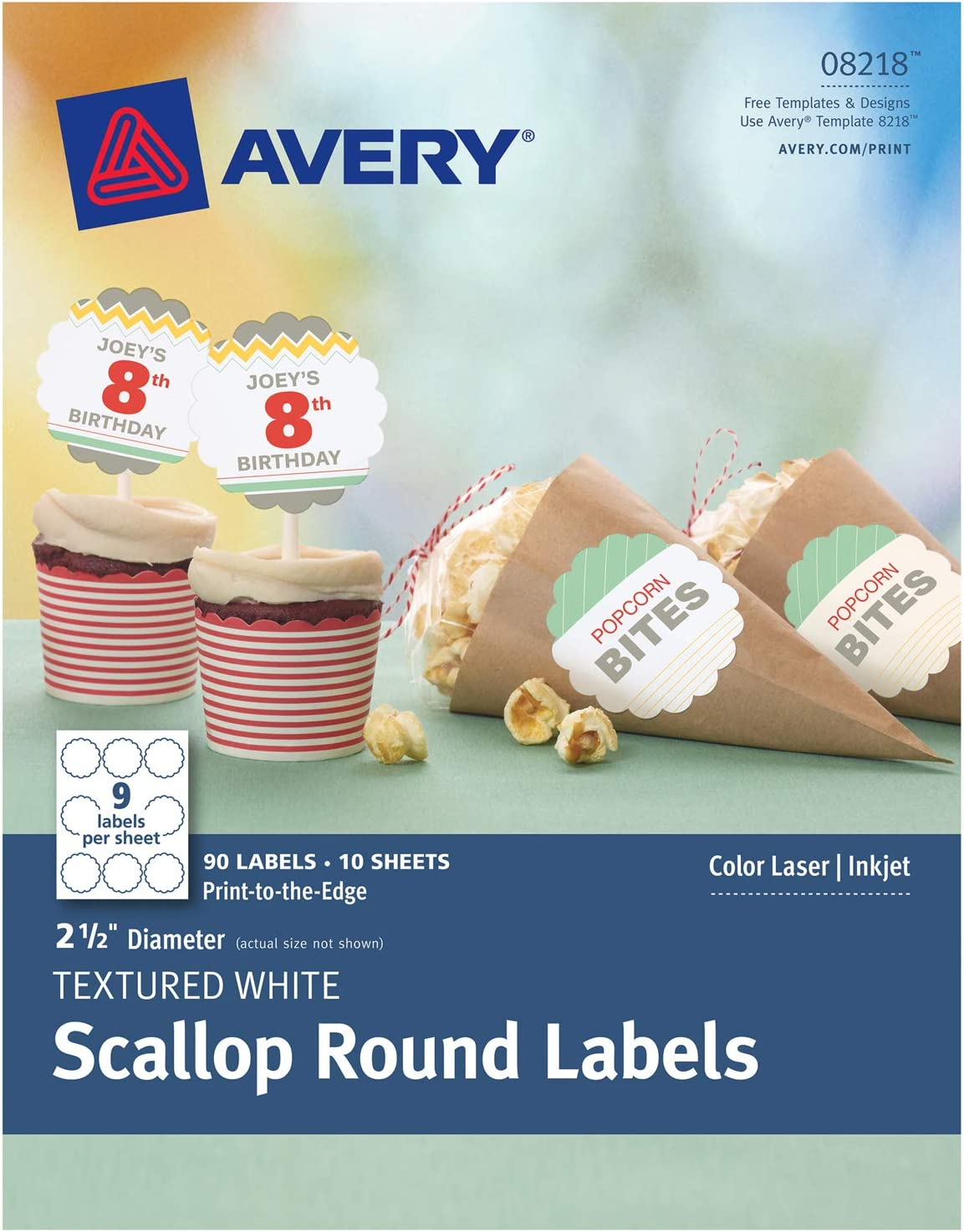 Avery Scallop 2.5 Inch Round Labels with Sure Feed for Laser & Inkjet Printers, 90 White Labels (8218)