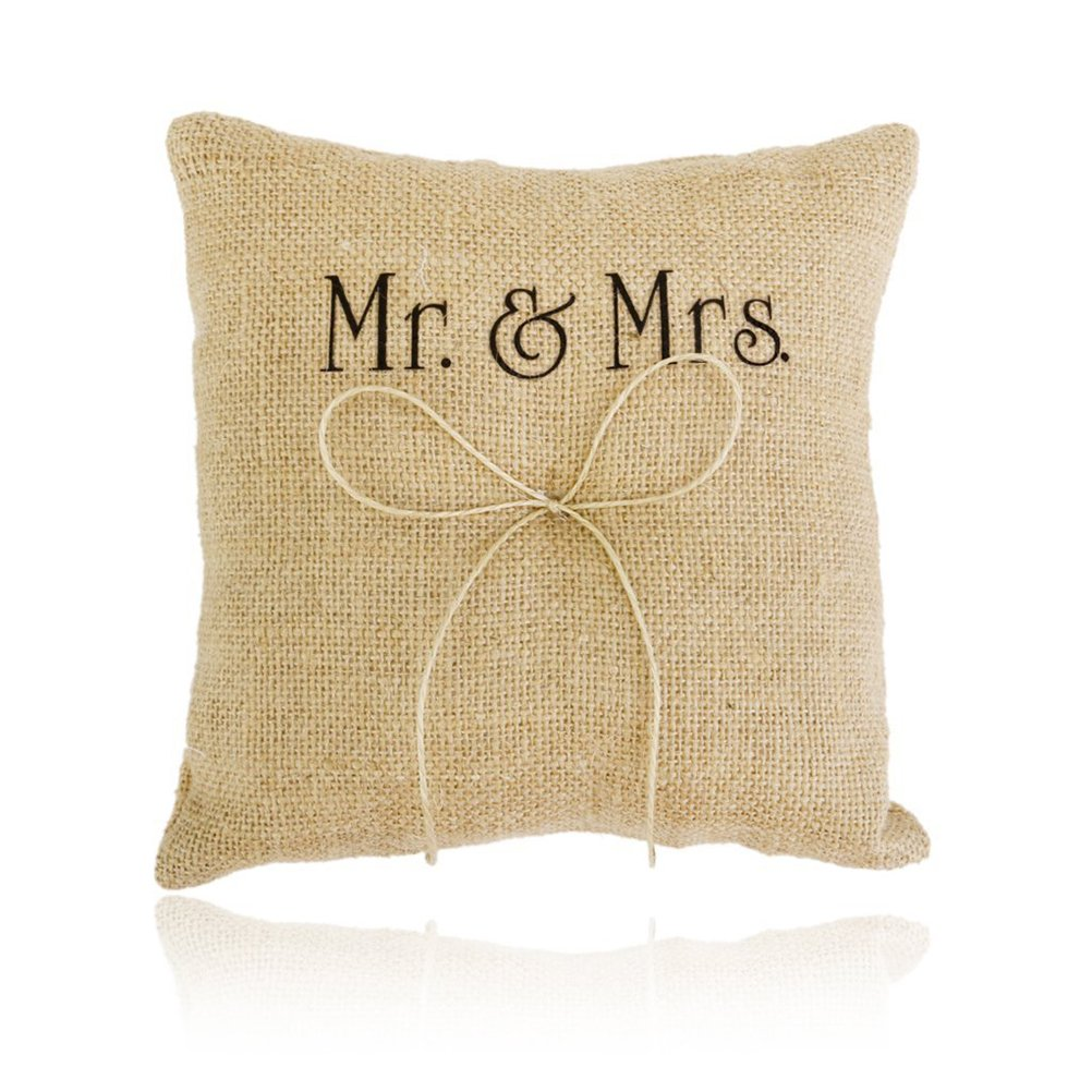 LEORX Mr Mrs Burlap Jute Bow Twine Rustic Wedding Ring Bear Pillow - 1 Piece