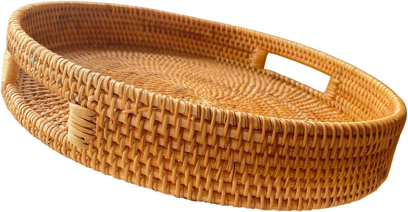 """Round Rattan Serving Tray with Handles, Natural Rattan Handmade Woven, Food Serving Woven Tray for Breakfast, Drinks, Snacks for Coffee Table, Home Decor, Organizer (13.8""""x2.4"""", Honey Brown)"""