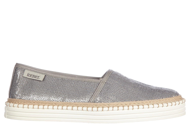 Hogan women's leather slip on sneakers paillettes rebel silver