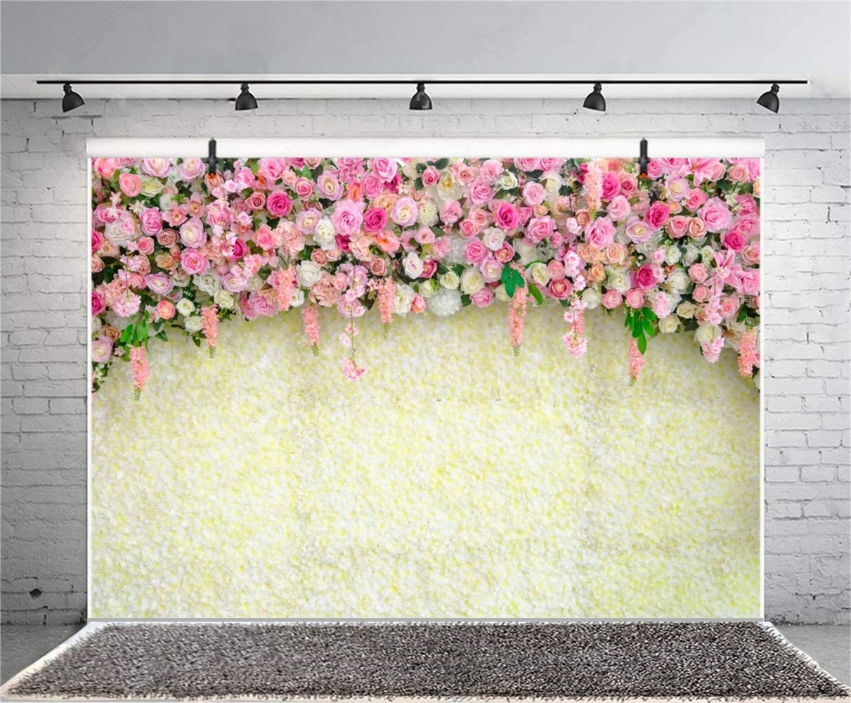 Sweety Pink Yellow Rose Flower Wall Backdrop 8x6.5ft Polyester Graceful Floral Wedding Ceremony Stage Photo Booth Background Bridal Shower Bride Groom Portrait Event Activities Shoot