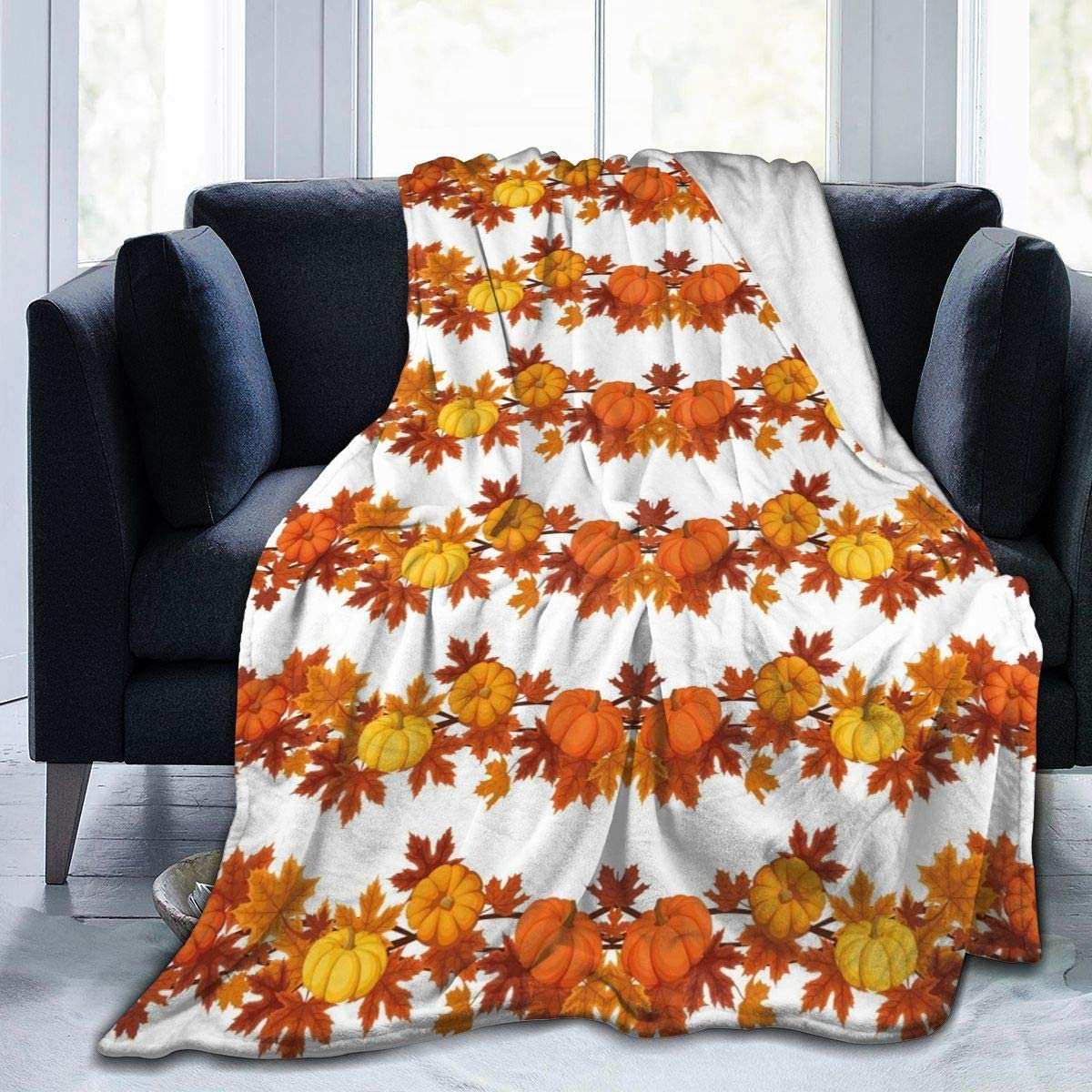 """MSGUIDE Thanksgiving Blanket Throw Fall Pumpkin Maple Leaves Air Conditioner Quilt for Sofa Bed Couch Living Room Bedroom Office Travel 50""""x40"""""""