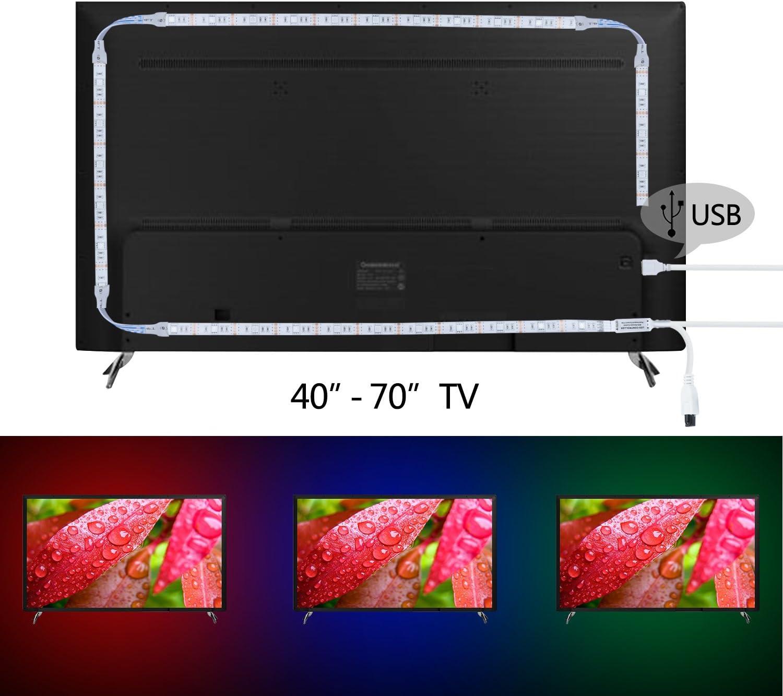 Kivvo TV Retroiluminación RGB LED tira (80 pulgadas) Kit USB alimentado con mando a distancia (44 teclas con función de color personalizado): Amazon.es: Iluminación