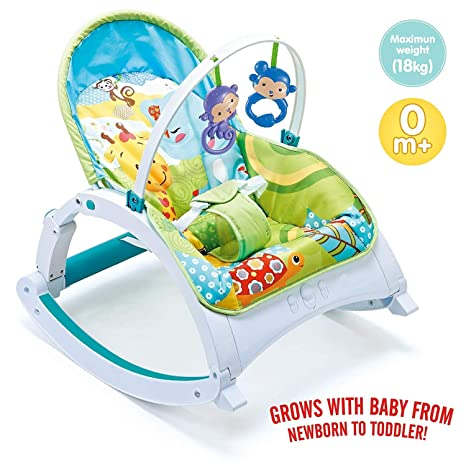 Baby Rocker Infant to Toddler Bouncer Toy Bar Recline Lightweight Washable Seat
