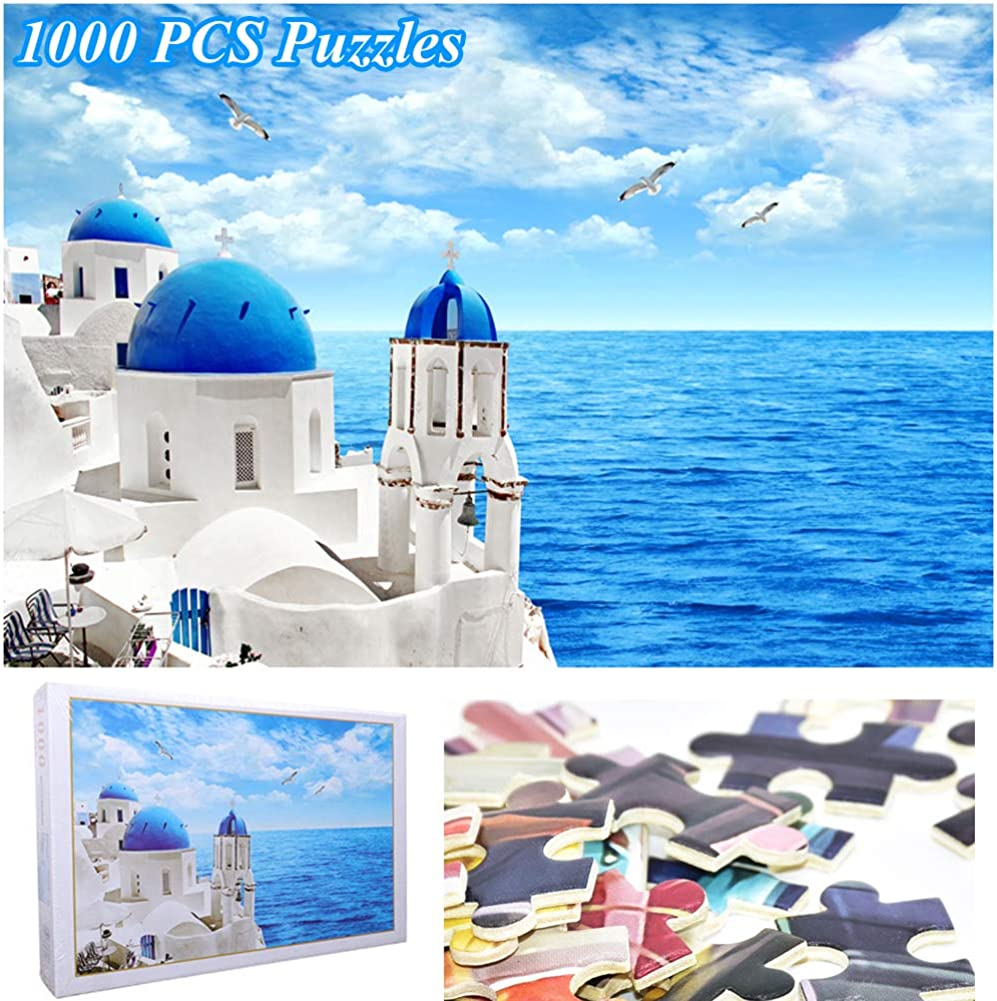 JUST N1 Jigsaw Puzzles 1000 Pieces for Adults Aegean Sea Greece Santorini Scenery Landscape Puzzles