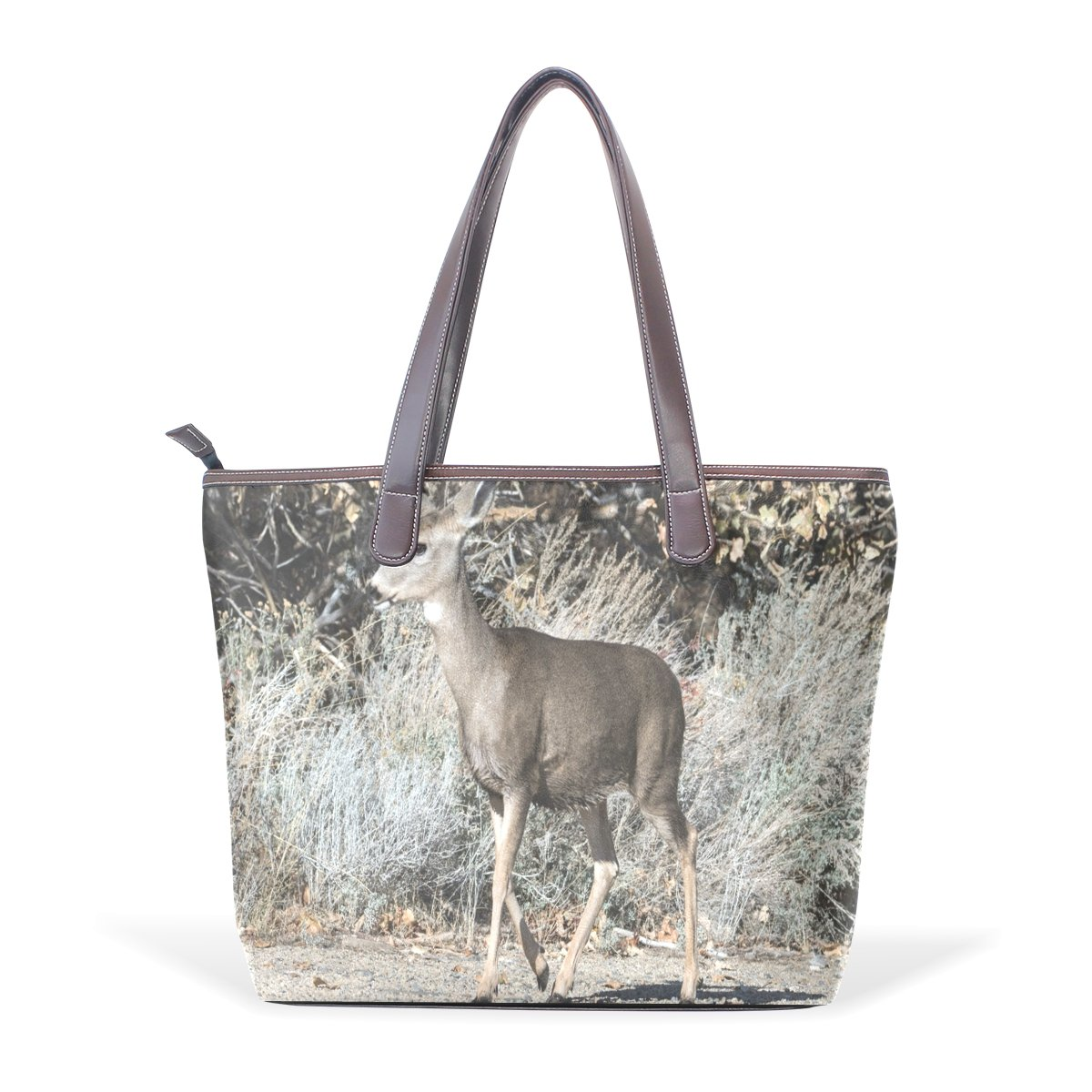 Ye Store Out Of The Forest Lady PU Leather Handbag Tote Bag Shoulder Bag Shopping Bag