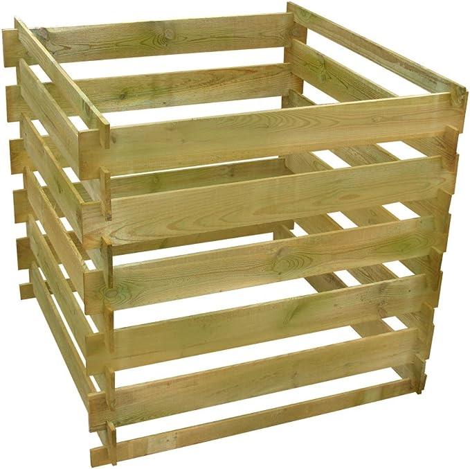 Cubo para compost cuadrado de listones de madera 0, 54 m ³: Amazon.es: Jardín