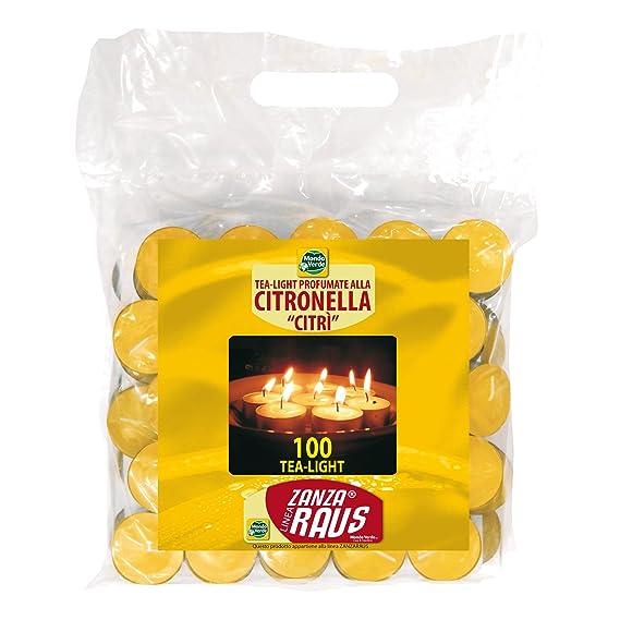 MONDO Verde luz01 – Packung mit 100 Kerzen Citronella Anti-Mücken-, 3,8 x 1.5 cm, Farbe Gelb