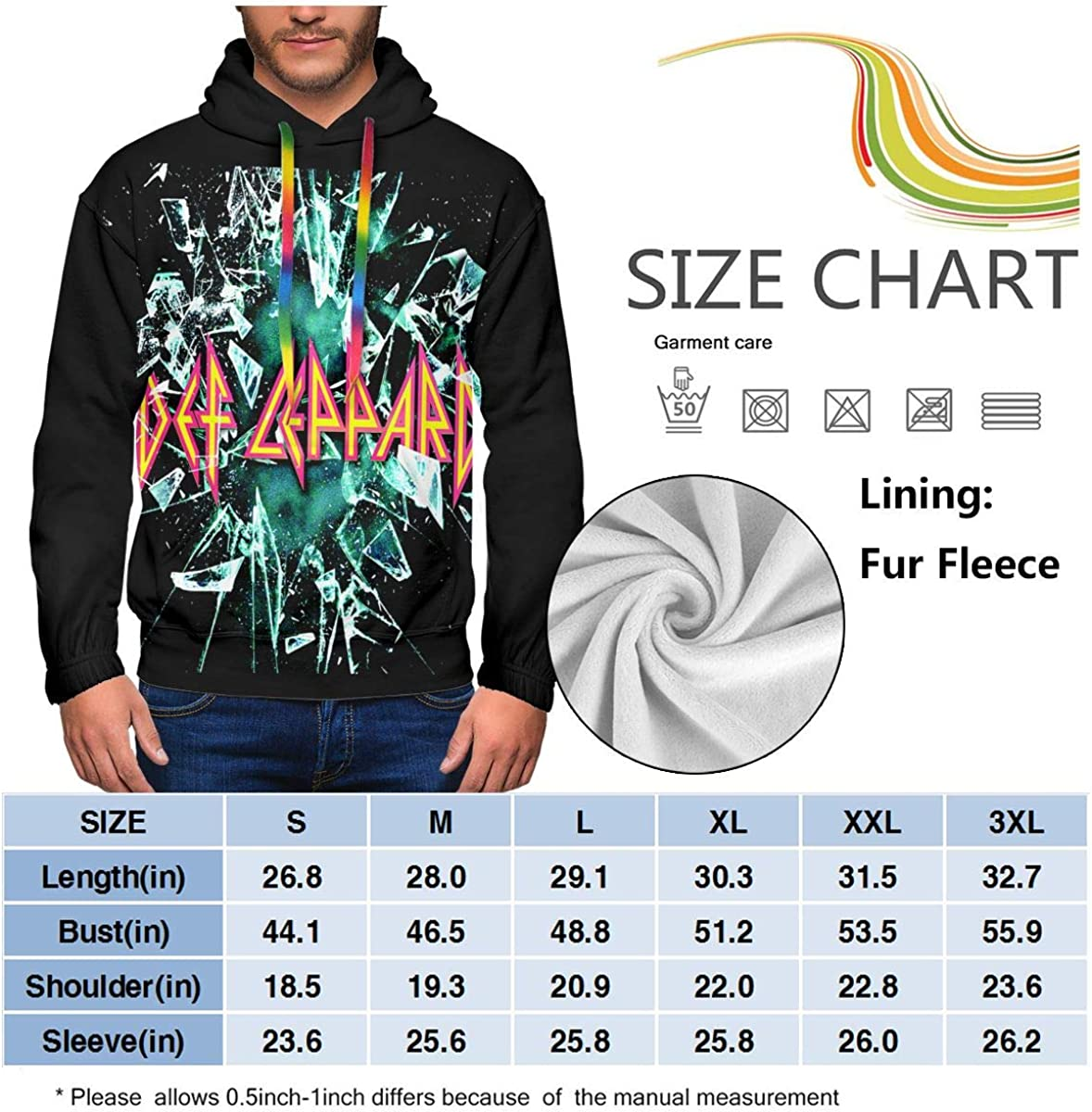 ElizabethBBussey Def Leppard Sweatshirt Men Plus Velvet Padded Print Fashion Hooded Sweatshirt