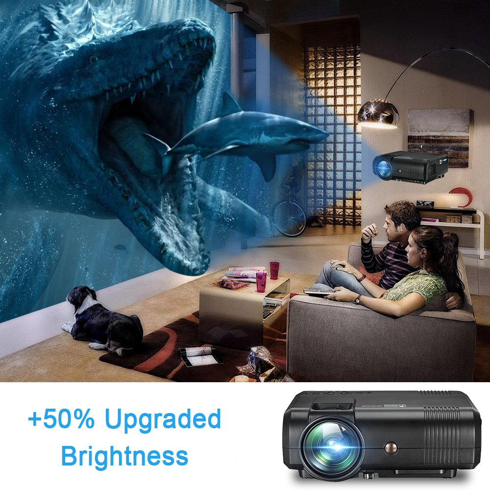 Projector, Weton 2200 Lumens Video Projector 1080P Portable Mini Projector Multimedia LED Projector Home Theater Movie Projector Support HDMI, USB, VGA, AV for IOS Android Smartphone (Plug and Play) by Weton (Image #3)