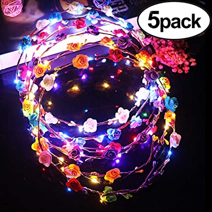 Novelty Led Flashing Flower Headband Hairband Glowing Light Floral Wreath Hair Ornament Children Girls Toys Christmas Party Apparel Accessories