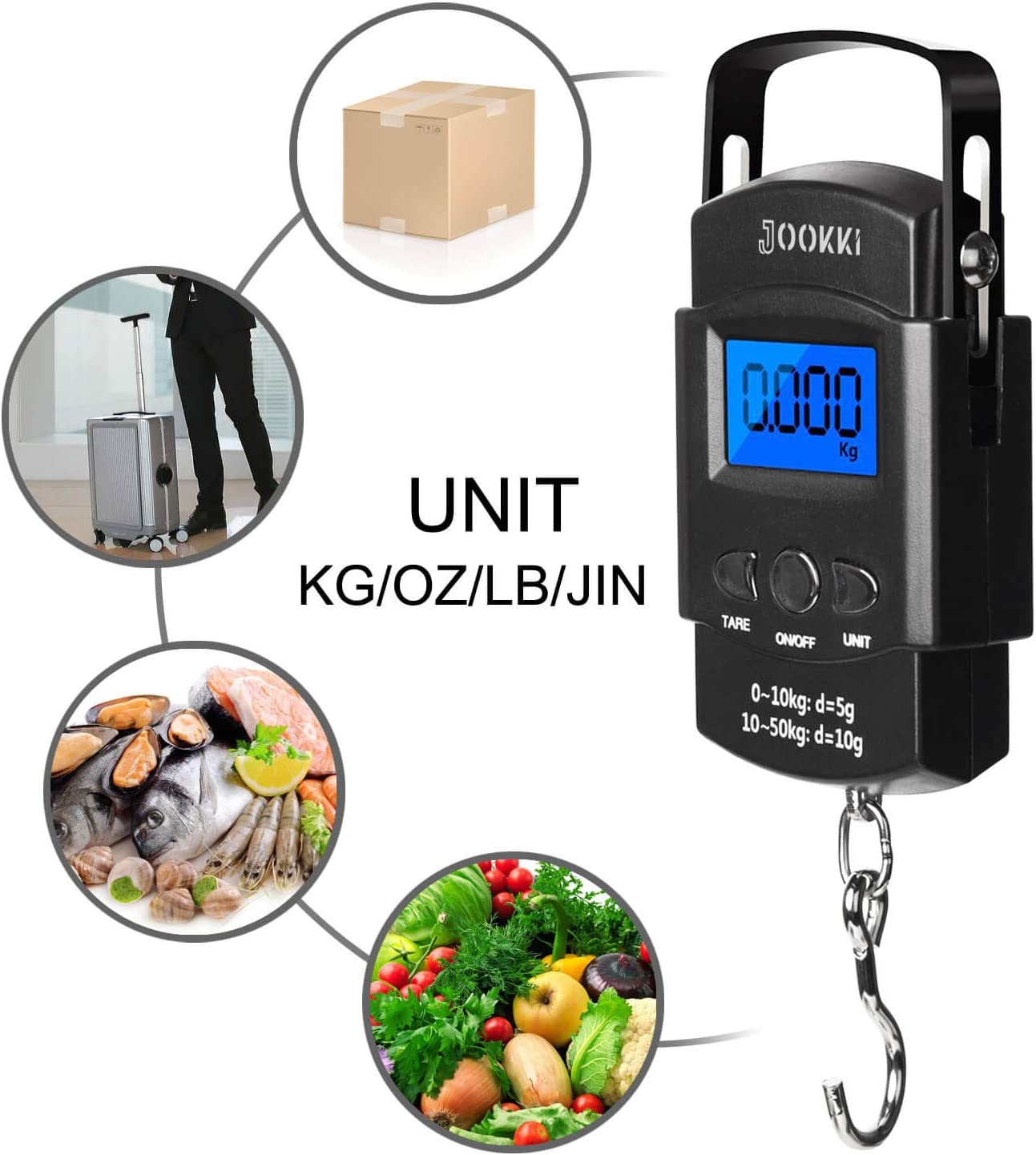 Fish Scale,JOOKKI Hanging Scale Portable Dial Scale LCD Digital Weight Electronic Scale 110lb 50kg with a Tape Measure for Tackle Bag,Luggage,Baggage, Black