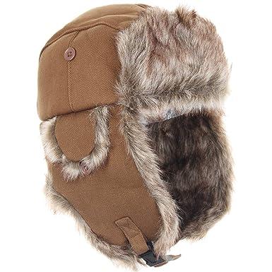 Nordic Faux Fur and Sand Canvas Ushanka Style Hat  Amazon.co.uk ... cbf2b149c2e